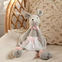 MASKOTKA dla dziecka Mysz w spódnicy SZARA 35cm