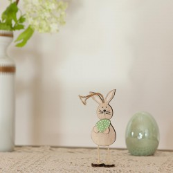 DEKORACJA na Wielkanoc zajączek drewniany na sznurku Mały 12cm