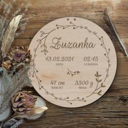 METRYCZKA drewniana koło Z IMIENIEM Rustykalna 30cm