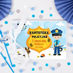KSIĘGA Pamiątkowa Kartoteka Policyjna na odciski Z IMIENIEM (+biała wstążka)