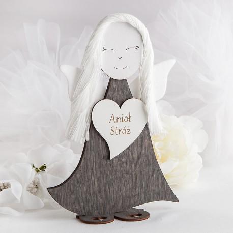 ANIOŁ drewniany filcowe skrzydełka Anioł Stróż 23cm PAMIĄTKA