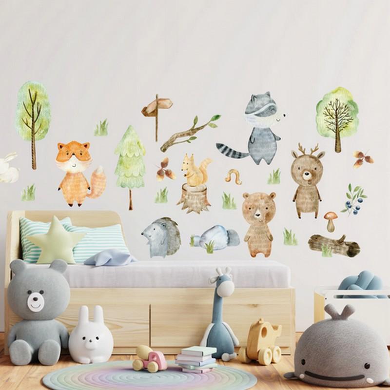 Naklejki na ścianę leśne zwierzątka