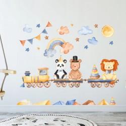 NAKLEJKI na ścianę do pokoju dziecka Zabawkowy Pociąg 50x100cm