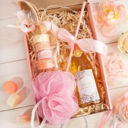 PREZENT dla Świadkowej Box Z IMIENIEM Wino+makaroniki mydełka LUX