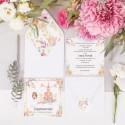 ZAPROSZENIE komunijne personalizowane Pastelowy Kościół z dziewczynką (+koperta z wnętrzem+naklejka)