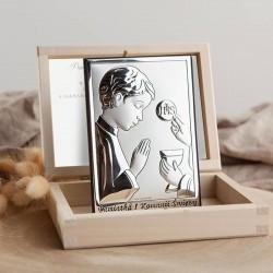 PAMIĄTKA I Komunii dla chłopca Srebrny Obrazek Srebro 925 LUX