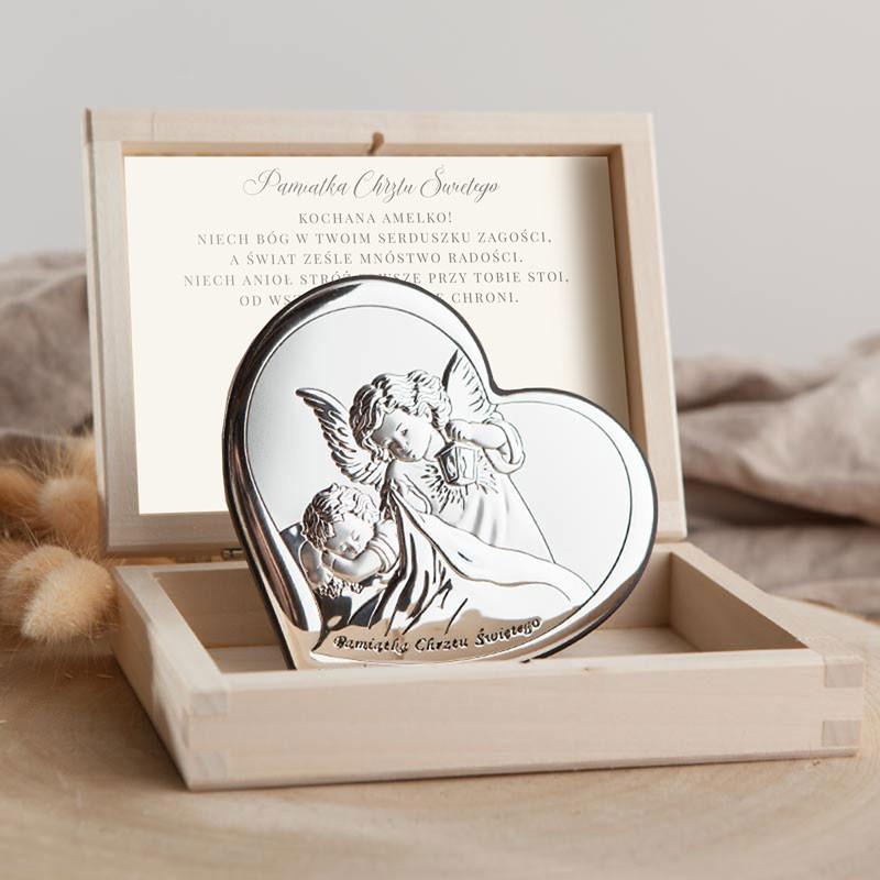 Prezent na Chrzest Święty dziecka srebrny obrazek
