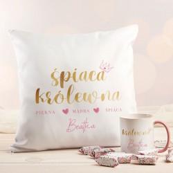 PREZENT dla Mamy Z IMIENIEM poduszka+kubek+krówki Śpiąca Królewna ZESTAW 7% taniej