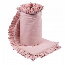OCHRANIACZ do łóżeczka z falbanką 180x30cm Brudny Róż