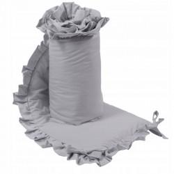 OCHRANIACZ do łóżeczka z falbanką 180x30cm Jasnoszary