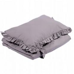 POŚCIEL do łóżeczka z falbanką 120x90cm Ciemnoszary