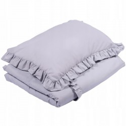 POŚCIEL do łóżeczka z falbanką 100x135cm Jasnoszary