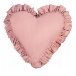 PODUSZKA w kształcie serca z falbanką Brudny Róż