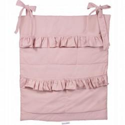 ORGANIZER do łóżeczka z falbanką 50x60cm Brudny Róż