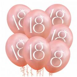 BALONY na 18 urodziny z koroną 6szt ROSEGOLD