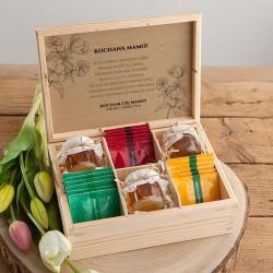 PREZENT na Dzień Matki Z PODPISEM Herbatki i miód w skrzyni