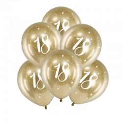 BALONY na 18 urodziny złote 6szt Chromowane Lux