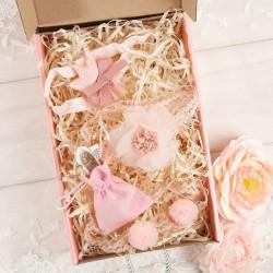 PREZENT na Chrzest/narodziny w pudełku Z IMIENIEM Zestaw Opasek+woreczek na pieniądze