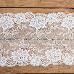 BIEŻNIK koronka dekoracyjna na rolce złamana biel Kwiaty 18cm x 9m