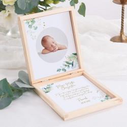 PODZIĘKOWANIE dla Chrzestnych/Dziadków pudełko ZE ZDJĘCIEM DZIECKA Gałązka Eukaliptusa
