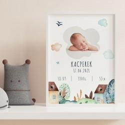 METRYCZKA dziecka w ramie A4 ZE ZDJĘCIEM DZIECKA Chmurki
