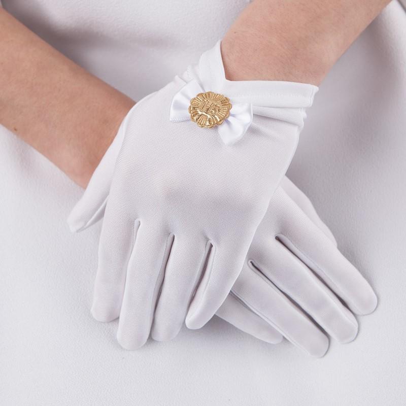 rękawiczki komunijne ze złotą hostią