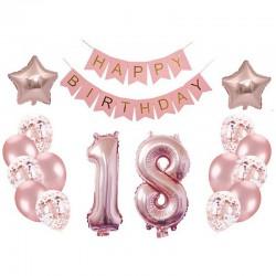 ZESTAW balonów i dekoracji na 18 Mega ROSEGOLD