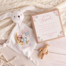 PREZENT na Chrzest dziewczynki Przytulanka Z IMIENIEM w pudełku