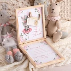 ŻYCZENIA urodzinowe pudełko na pieniądze Z PODPISEM Króliczek Ballerina