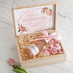 PREZENT na 18,30,40 urodziny wino kryształowe w skrzyni Rosegold LUX