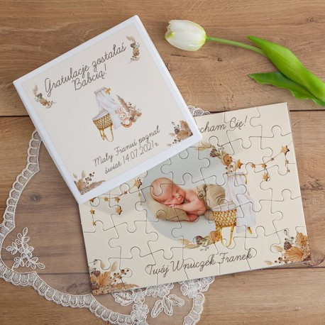 GRATULACJE dla Dziadków PUZZLE w pudełku na Narodziny ZE ZDJĘCIEM 35el Boho