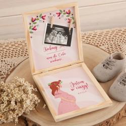 JAK powiedzieć o ciąży pudełko Z PODPISEM na zdjęcie USG Róż