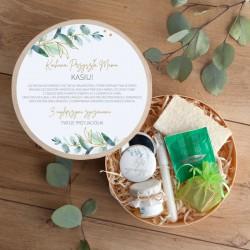 PREZENT na Baby Shower dla Mamy Box Z IMIENIEM Eukaliptusowe Odprężenia