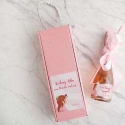 WINO MUSUJĄCE  Zostaniesz Babcią/Dziadkiem/Tatusiem Premium Różowe Kwiaty W PUDEŁKU