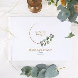 KSIĘGA Pamiątkowa na Chrzest/Komunię Eukaliptus Z IMIENIEM (+sznureczek złoty)
