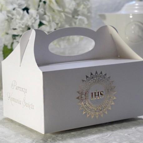 PUDEŁKA na ciasto komunijne Hostia BŁYSK ZŁOTA 10szt