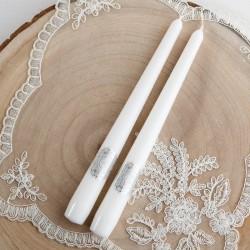ŚWIECE proste komunijne białe Srebrna Hostia 24cm 2szt