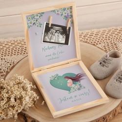 JAK powiedzieć o ciąży pudełko Z PODPISEM na zdjęcie USG Serce