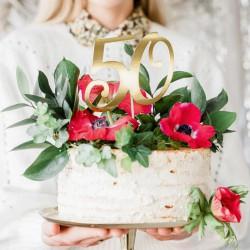 TOPPER na tort na 50 urodziny Złoty