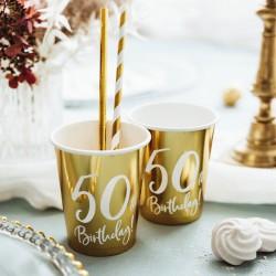KUBECZKI na 50 urodziny Złote 6szt