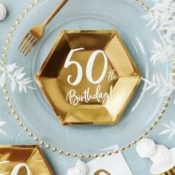 TALERZYKI na 50 urodziny heksagon złote 20cm 6szt