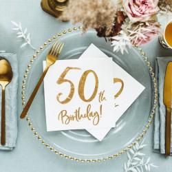SERWETKI na 50 urodziny złoty napis 33x33cm 20szt