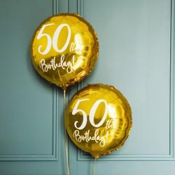 BALON na 50 urodziny foliowy okrągły 45cm ZŁOTY