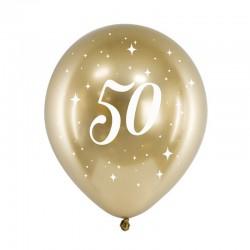 BALONY na 50 urodziny złote 6szt Chromowane Lux