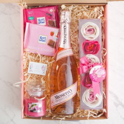 PREZENT na urodziny Z IMIENIEM różowe Prosecco i mydlane konfetti