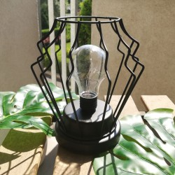 LAMPION do dekoracji z żarówką CZARNY METALOWY