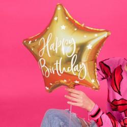 BALON foliowy urodzinowy gwiazda 40cm Happy Birthday ZŁOTY