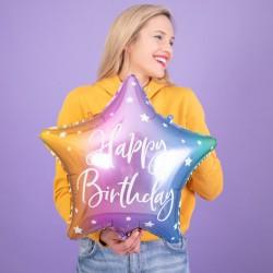 BALON foliowy urodzinowy gwiazda 40cm Happy Birthday TĘCZOWY