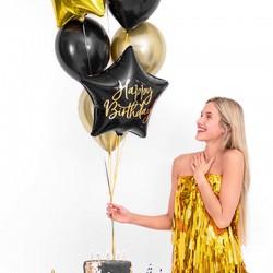 BALON foliowy gwiazda 40cm Happy Birthday CZARNY