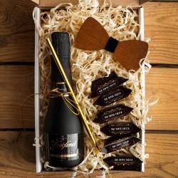PREZENT na Kawalerski pudełko Z IMIENIEM Wino i mucha
